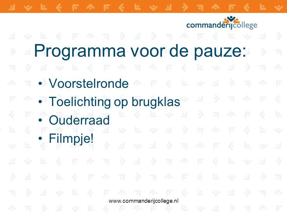 Rol van de ouders www.commanderijcollege.nl In gesprek gaan Luisteren Tas controleren (boeken, schriften, agenda, gymspullen, eten, drinken) Huiswerk begeleiden Alert zijn op pestgedrag