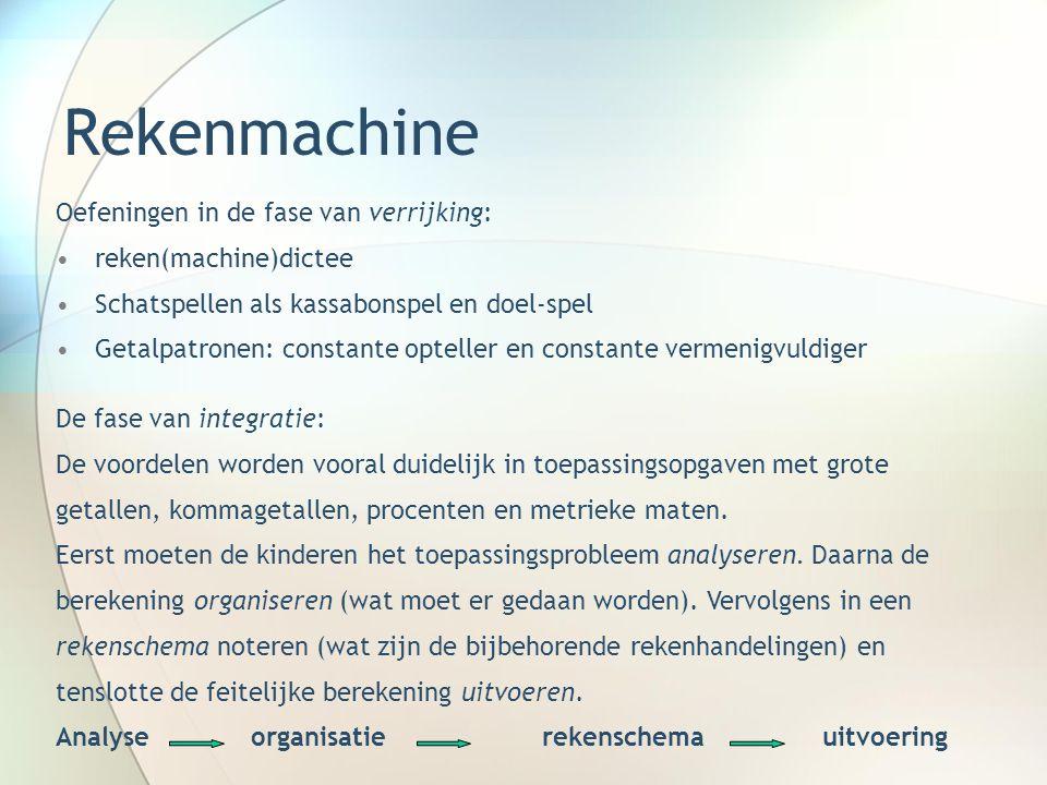 Rekenmachine Oefeningen in de fase van verrijking: reken(machine)dictee Schatspellen als kassabonspel en doel-spel Getalpatronen: constante opteller e