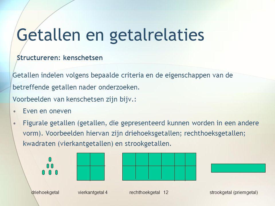 Getallen en getalrelaties Getallen indelen volgens bepaalde criteria en de eigenschappen van de betreffende getallen nader onderzoeken. Voorbeelden va
