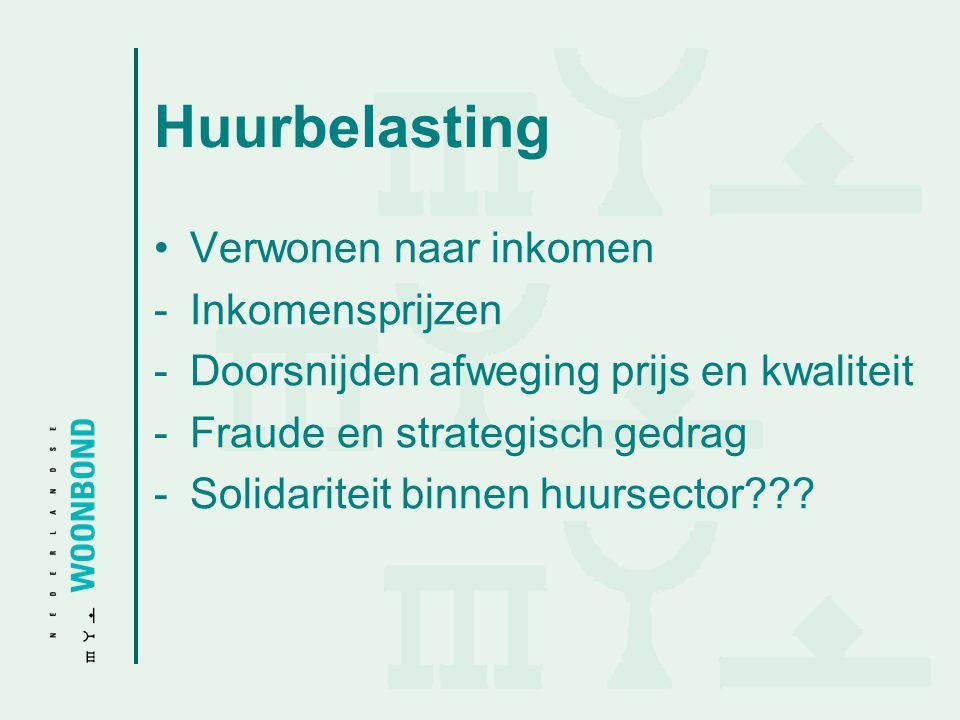 Huurbelasting Verwonen naar inkomen -Inkomensprijzen -Doorsnijden afweging prijs en kwaliteit -Fraude en strategisch gedrag -Solidariteit binnen huurs