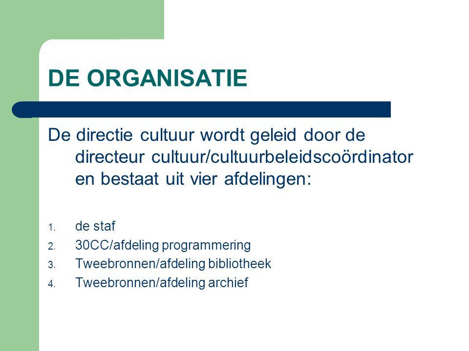 DE ORGANISATIE De directie cultuur wordt geleid door de directeur cultuur/cultuurbeleidscoördinator en bestaat uit vier afdelingen: 1. de staf 2. 30CC