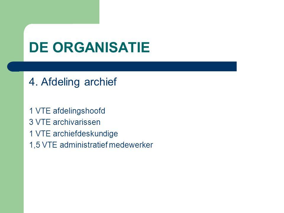 DE ORGANISATIE 4. Afdeling archief 1 VTE afdelingshoofd 3 VTE archivarissen 1 VTE archiefdeskundige 1,5 VTE administratief medewerker