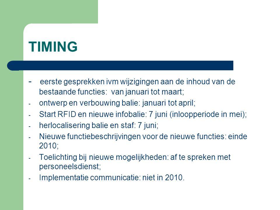TIMING - eerste gesprekken ivm wijzigingen aan de inhoud van de bestaande functies: van januari tot maart; - ontwerp en verbouwing balie: januari tot april; - Start RFID en nieuwe infobalie: 7 juni (inloopperiode in mei); - herlocalisering balie en staf: 7 juni; - Nieuwe functiebeschrijvingen voor de nieuwe functies: einde 2010; - Toelichting bij nieuwe mogelijkheden: af te spreken met personeelsdienst; - Implementatie communicatie: niet in 2010.