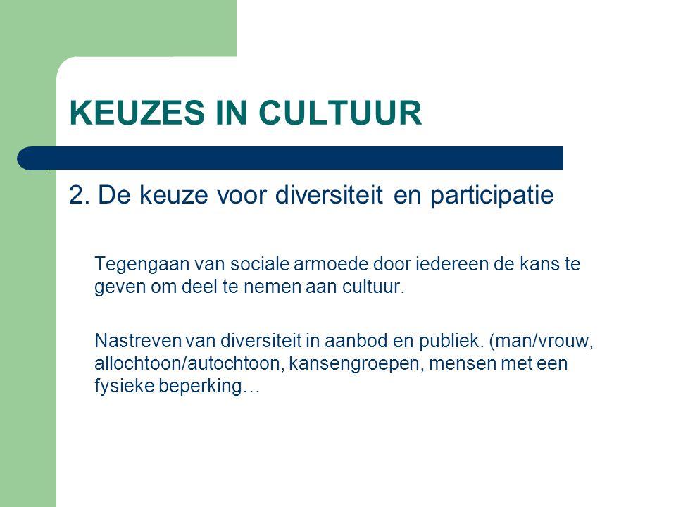 KEUZES IN CULTUUR 2. De keuze voor diversiteit en participatie Tegengaan van sociale armoede door iedereen de kans te geven om deel te nemen aan cultu