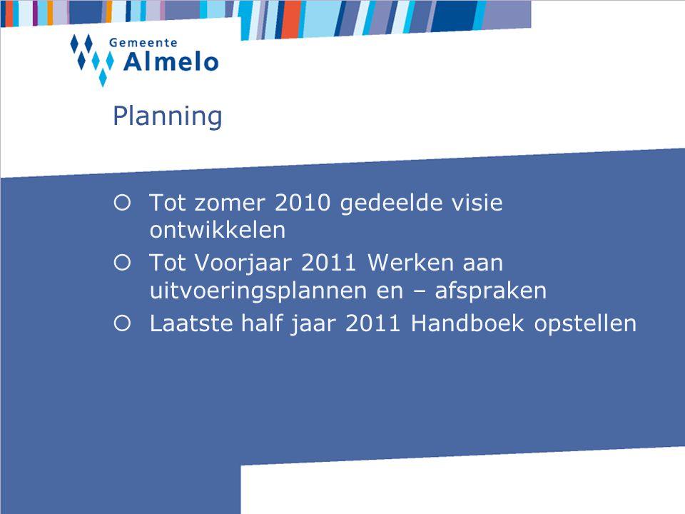 Planning  Tot zomer 2010 gedeelde visie ontwikkelen  Tot Voorjaar 2011 Werken aan uitvoeringsplannen en – afspraken  Laatste half jaar 2011 Handboek opstellen