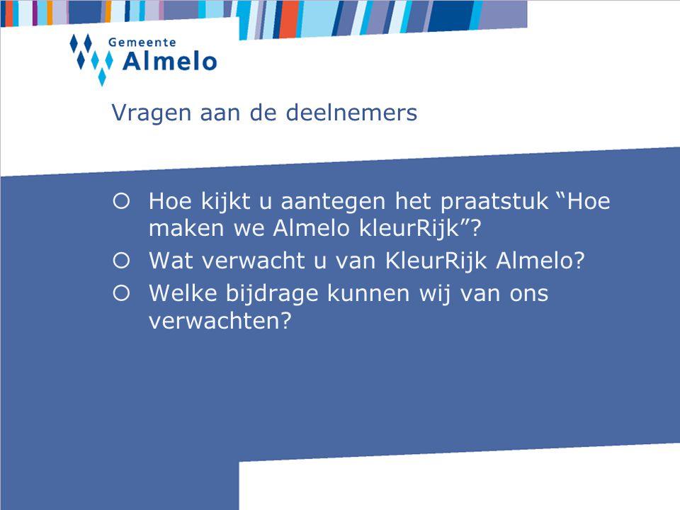 Vragen aan de deelnemers  Hoe kijkt u aantegen het praatstuk Hoe maken we Almelo kleurRijk .
