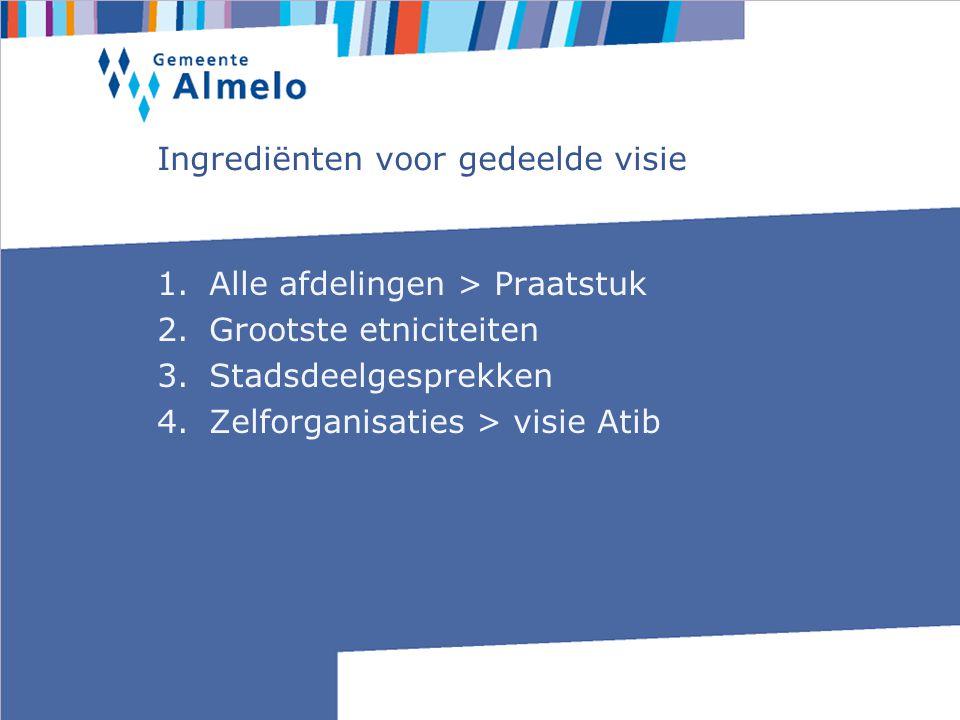 Ingrediënten voor gedeelde visie 1.Alle afdelingen > Praatstuk 2.Grootste etniciteiten 3.Stadsdeelgesprekken 4.Zelforganisaties > visie Atib