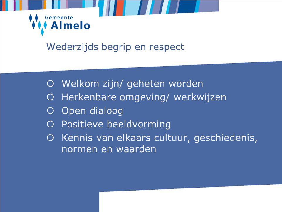 Wederzijds begrip en respect  Welkom zijn/ geheten worden  Herkenbare omgeving/ werkwijzen  Open dialoog  Positieve beeldvorming  Kennis van elkaars cultuur, geschiedenis, normen en waarden