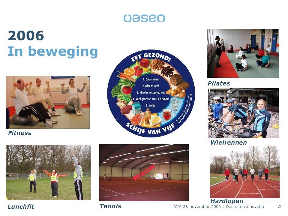 AVA 28 november 2006 | Oasen en innovatie5 2006 In beweging Nieuw Fitness Lunchfit Tennis Hardlopen Wielrennen Pilates