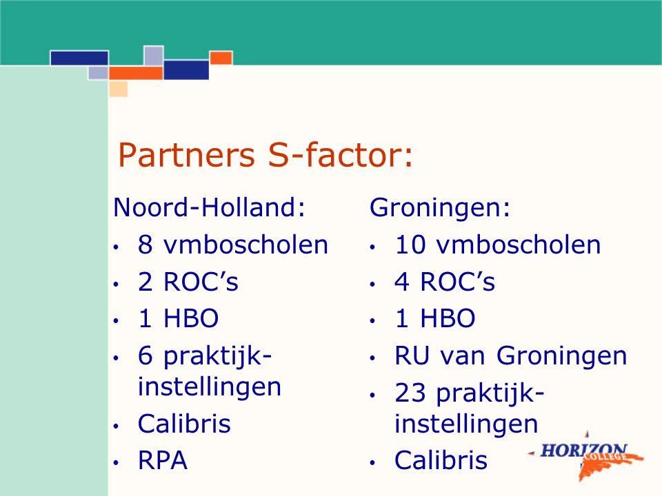 Partners S-factor: Noord-Holland: 8 vmboscholen 2 ROC's 1 HBO 6 praktijk- instellingen Calibris RPA Groningen: 10 vmboscholen 4 ROC's 1 HBO RU van Groningen 23 praktijk- instellingen Calibris