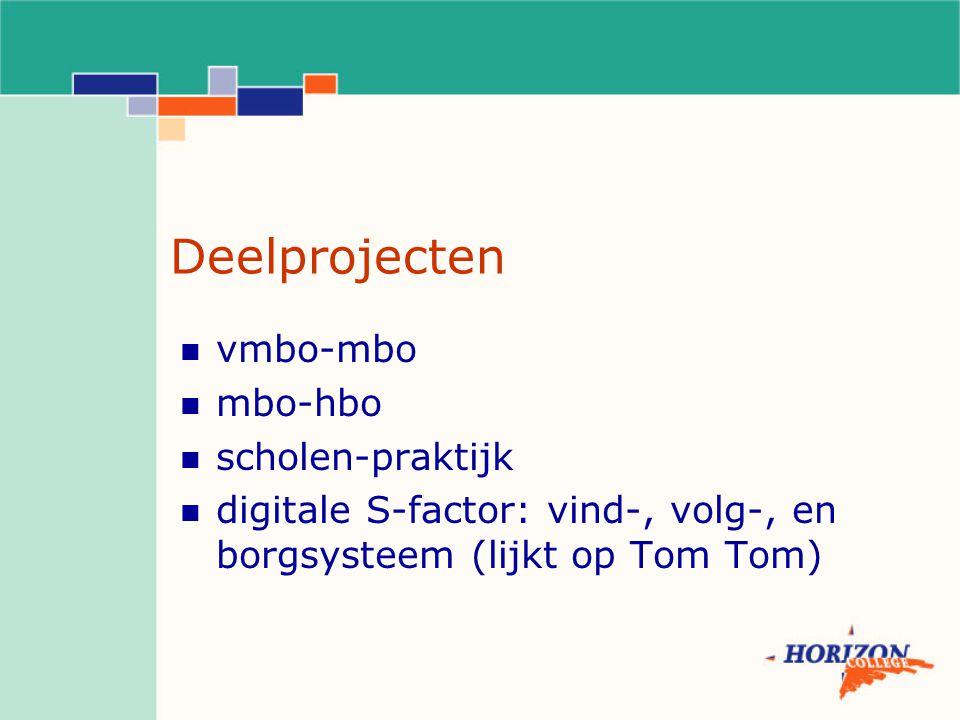 Deelprojecten vmbo-mbo mbo-hbo scholen-praktijk digitale S-factor: vind-, volg-, en borgsysteem (lijkt op Tom Tom)
