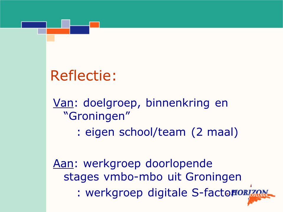 """Reflectie: Van: doelgroep, binnenkring en """"Groningen"""" : eigen school/team (2 maal) Aan: werkgroep doorlopende stages vmbo-mbo uit Groningen : werkgroe"""