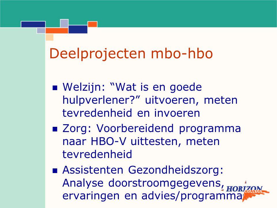 """Deelprojecten mbo-hbo Welzijn: """"Wat is en goede hulpverlener?"""" uitvoeren, meten tevredenheid en invoeren Zorg: Voorbereidend programma naar HBO-V uitt"""