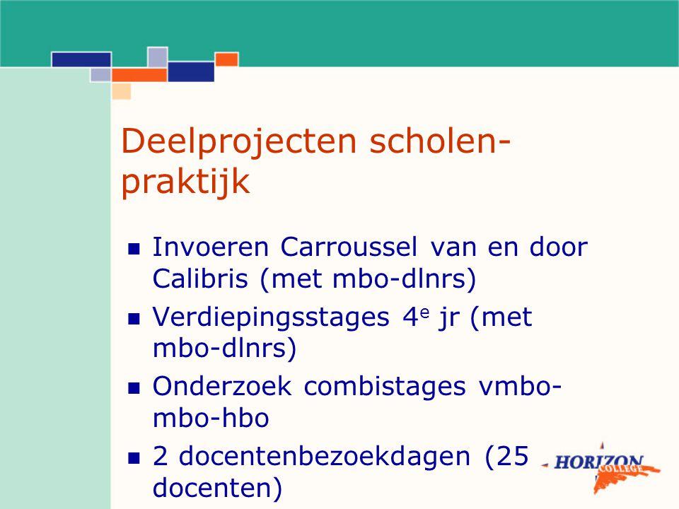 Deelprojecten scholen- praktijk Invoeren Carroussel van en door Calibris (met mbo-dlnrs) Verdiepingsstages 4 e jr (met mbo-dlnrs) Onderzoek combistages vmbo- mbo-hbo 2 docentenbezoekdagen (25 docenten)