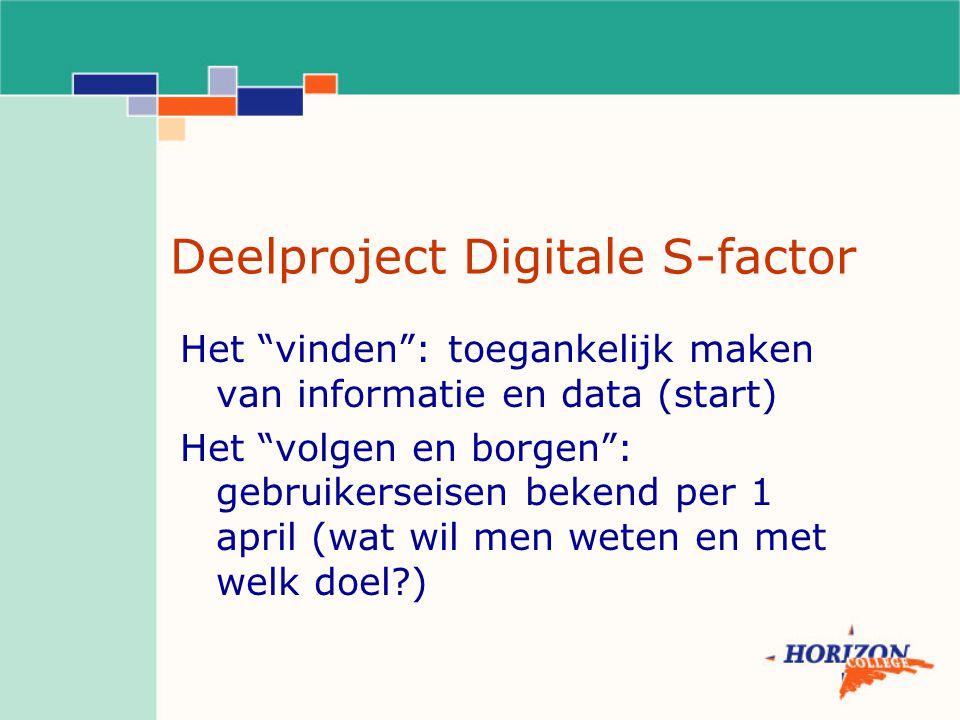 Deelproject Digitale S-factor Het vinden : toegankelijk maken van informatie en data (start) Het volgen en borgen : gebruikerseisen bekend per 1 april (wat wil men weten en met welk doel )