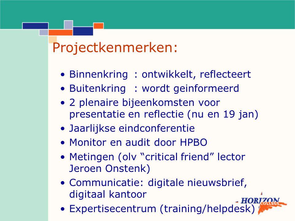 Projectkenmerken: Binnenkring: ontwikkelt, reflecteert Buitenkring: wordt geinformeerd 2 plenaire bijeenkomsten voor presentatie en reflectie (nu en 1