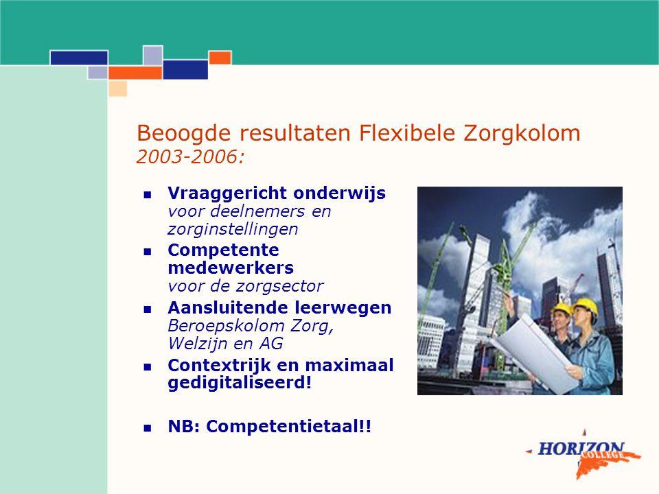 Beoogde resultaten Flexibele Zorgkolom 2003-2006: Vraaggericht onderwijs voor deelnemers en zorginstellingen Competente medewerkers voor de zorgsector Aansluitende leerwegen Beroepskolom Zorg, Welzijn en AG Contextrijk en maximaal gedigitaliseerd.