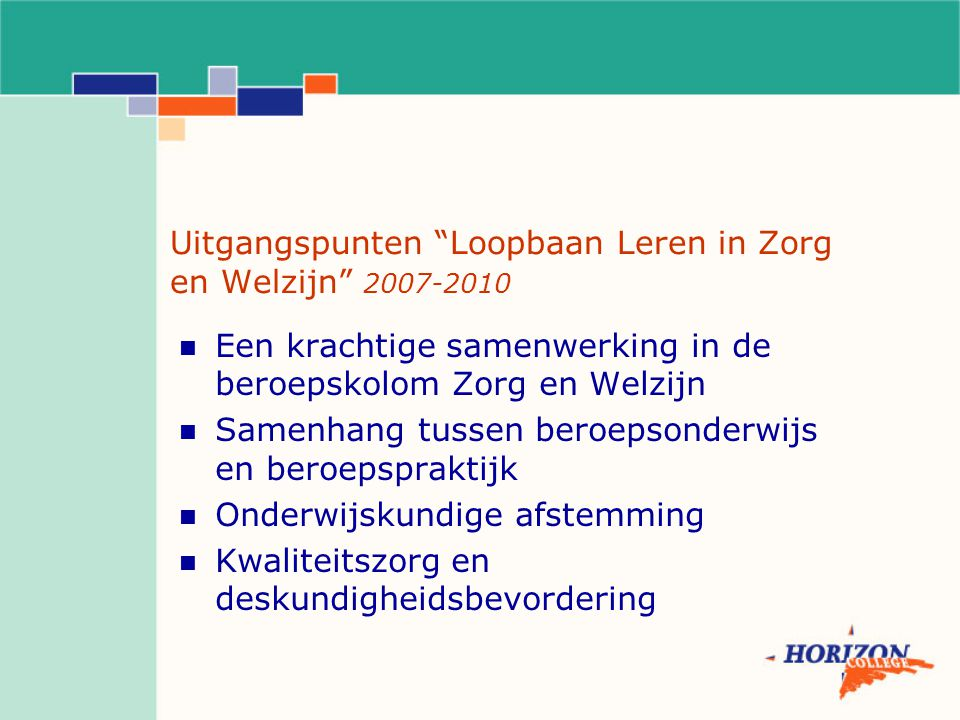Uitgangspunten Loopbaan Leren in Zorg en Welzijn 2007-2010 Een krachtige samenwerking in de beroepskolom Zorg en Welzijn Samenhang tussen beroepsonderwijs en beroepspraktijk Onderwijskundige afstemming Kwaliteitszorg en deskundigheidsbevordering