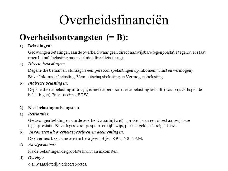 Overheidsfinanciën Overheidsontvangsten (= B): 1) Belastingen: Gedwongen betalingen aan de overheid waar geen direct aanwijsbare tegenprestatie tegeno