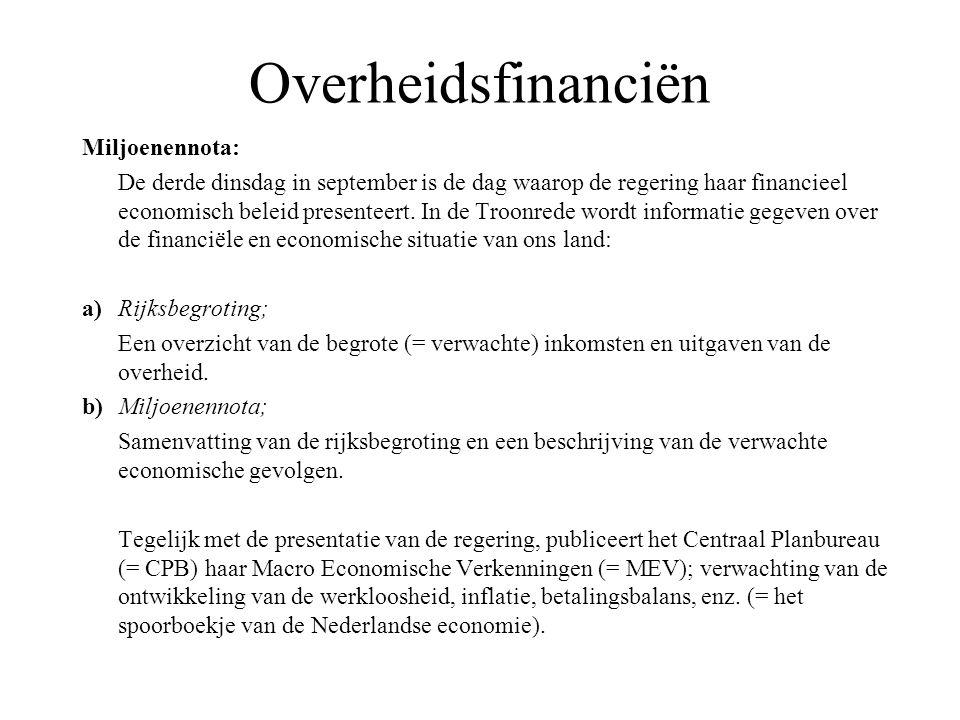 Overheidsfinanciën Collectieve lasten: Collectieve lasten = belastingen + premies sociale verzekeringen + retributies.