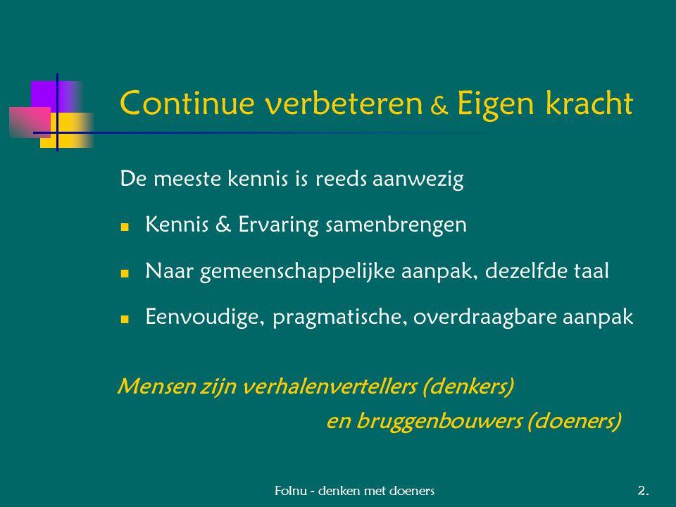 Folnu - denken met doeners Projecten Industrie & Infrastructuur NS Besturingsmodel Instandhouding NS Output Proces Contracten (onderhoudsaannemers) DSM en Schiphol roltraining Regelfunctie voor technici DSM Vooruitdenken op veiligheid (KAM) Gti Programma-ontwikkeling professionalisering/opleiding DSM/AKZO/NS/Schiphol/Corus/Gti: RCA en FMEA Leergang onderhoudsmanagement: IBC-ontwikkeling Waterschap Zuid Limburg Bedienen en Onderhouden: M 3 IB 11.