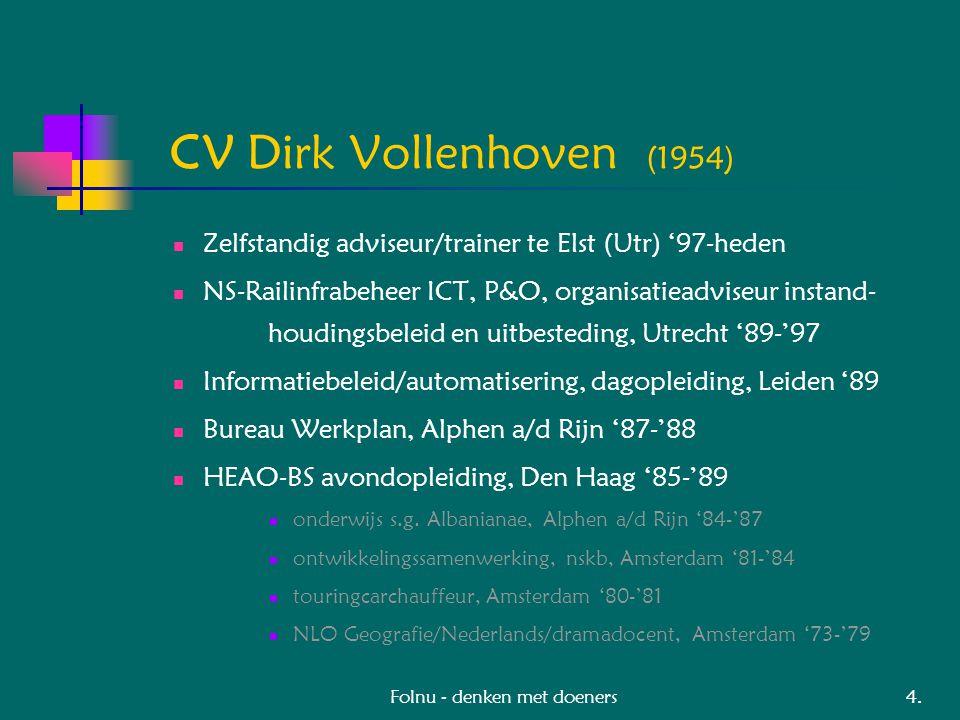 Folnu - denken met doeners CV Dirk Vollenhoven (1954) Zelfstandig adviseur/trainer te Elst (Utr) '97-heden NS-Railinfrabeheer ICT, P&O, organisatieadviseur instand- houdingsbeleid en uitbesteding, Utrecht '89-'97 Informatiebeleid/automatisering, dagopleiding, Leiden '89 Bureau Werkplan, Alphen a/d Rijn '87-'88 HEAO-BS avondopleiding, Den Haag '85-'89 onderwijs s.g.