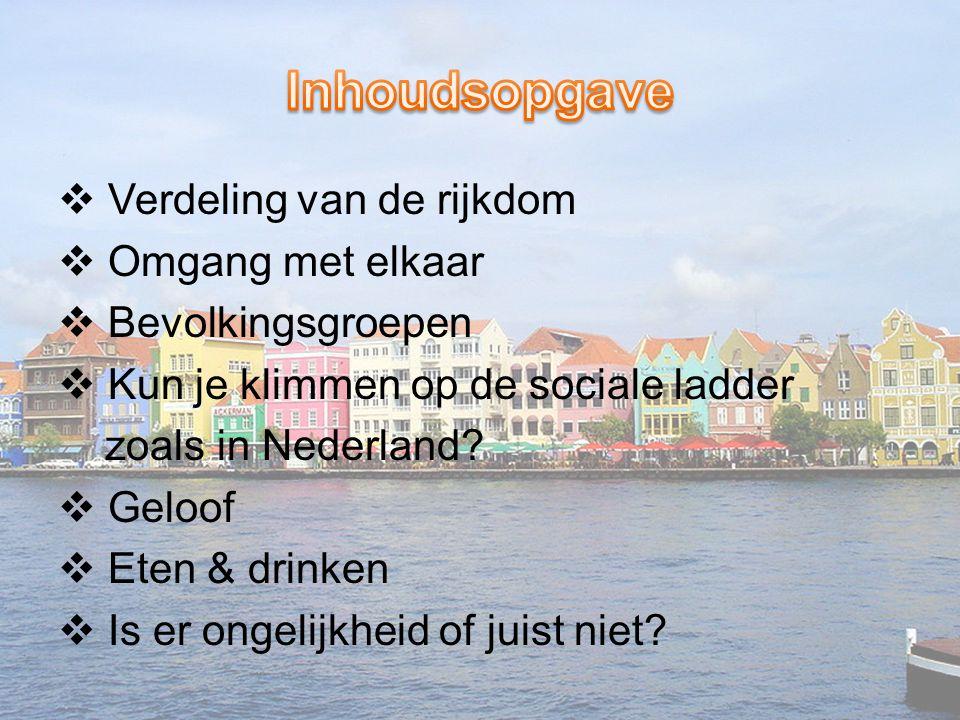  Verdeling van de rijkdom  Omgang met elkaar  Bevolkingsgroepen  Kun je klimmen op de sociale ladder zoals in Nederland?  Geloof  Eten & drinken