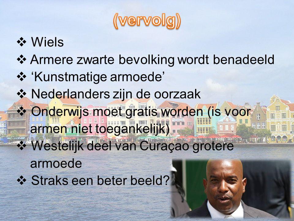  Wiels  Armere zwarte bevolking wordt benadeeld  'Kunstmatige armoede'  Nederlanders zijn de oorzaak  Onderwijs moet gratis worden (is voor armen
