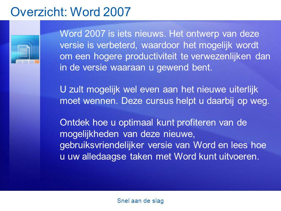 Snel aan de slag Overzicht: Word 2007 Word 2007 is iets nieuws.