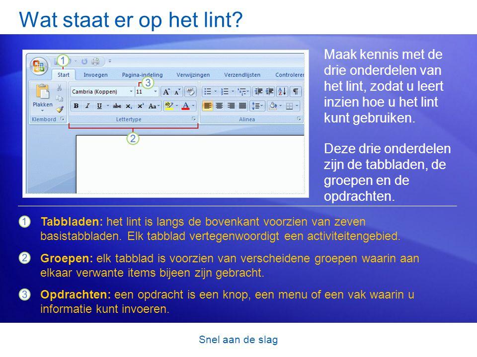 Snel aan de slag Beginnen met de Microsoft Office-knop Wat is er gebeurd met het menu Bestand.