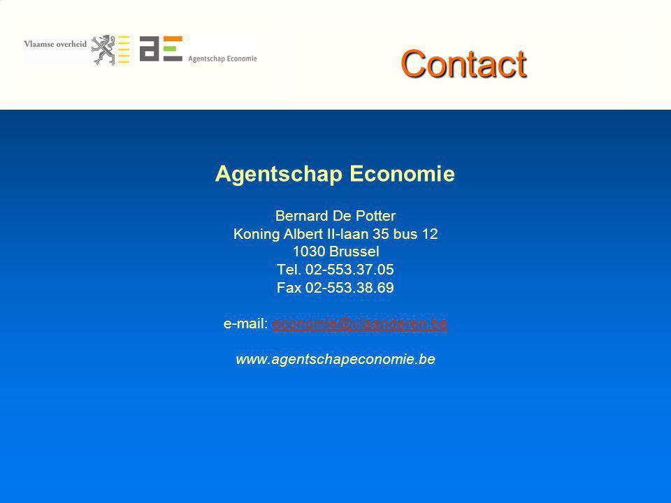 Contact Agentschap Economie Bernard De Potter Koning Albert II-laan 35 bus 12 1030 Brussel Tel.