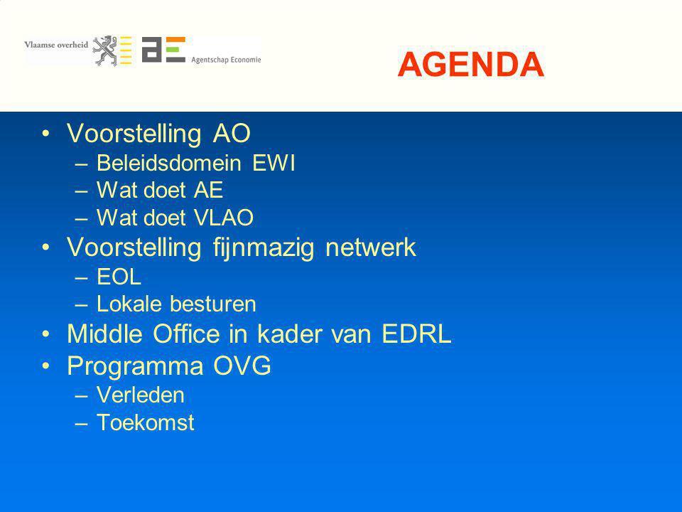 AGENDA Voorstelling AO –Beleidsdomein EWI –Wat doet AE –Wat doet VLAO Voorstelling fijnmazig netwerk –EOL –Lokale besturen Middle Office in kader van EDRL Programma OVG –Verleden –Toekomst