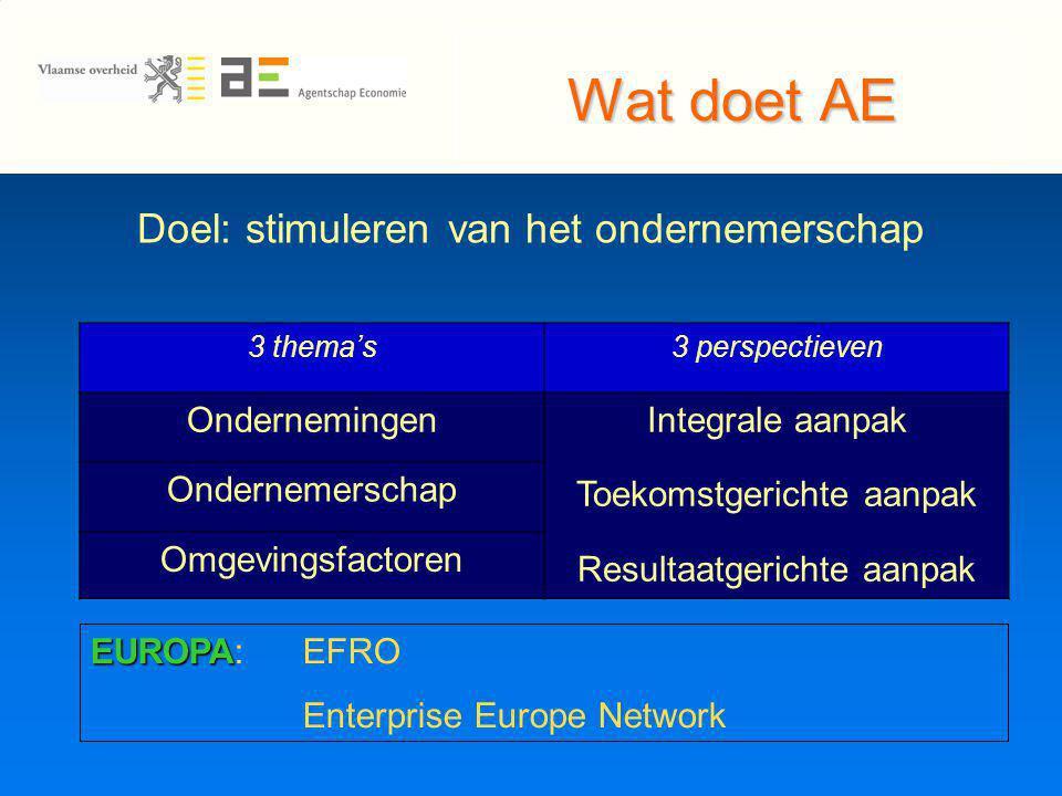 Wat doet AE Doel: stimuleren van het ondernemerschap 3 thema's3 perspectieven OndernemingenIntegrale aanpak Toekomstgerichte aanpak Resultaatgerichte aanpak Ondernemerschap Omgevingsfactoren EUROPA EUROPA:EFRO Enterprise Europe Network