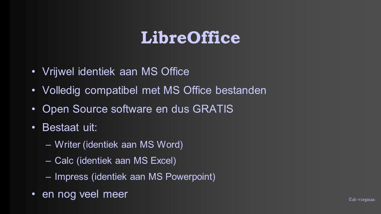 ©ab wiegman LibreOffice Downloaden en Installeren: versie 4.1.2 U weet inmiddels : ALTIJD eerst opslaan en dan installeren via dubbelklikken op het opgeslagen bestand Waar vinden we LibreOffice https://nl.libreoffice.org/download/ –Eerst hoofd bestand –Dan hulpbestand IN DIE VOLGORDE INSTALLEREN