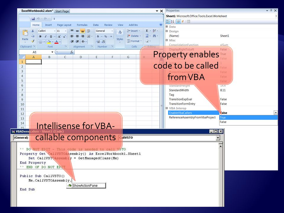 Property enables code to be called from VBA Intellisense for VBA- callable components