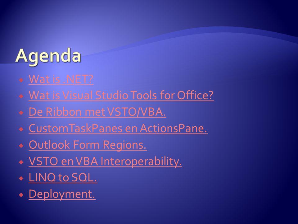  Office 2007 Custom UI Editor http://openxmldeveloper.org/articles/CustomUIeditor.aspx http://msdn2.microsoft.com/en-us/aa338202.aspx http://openxmldeveloper.org/articles/CustomUIeditor.aspx http://msdn2.microsoft.com/en-us/aa338202.aspx  http://www.outlookcode.com http://www.outlookcode.com  OutlookSpy http://www.dimastr.com/outspy/http://www.dimastr.com/outspy/  Synchroniseren van de Ribbon met een CustomTaskPane in Word 2007 http://www.sdn.nl/Display.aspx?id=2525http://www.sdn.nl/Display.aspx?id=2525