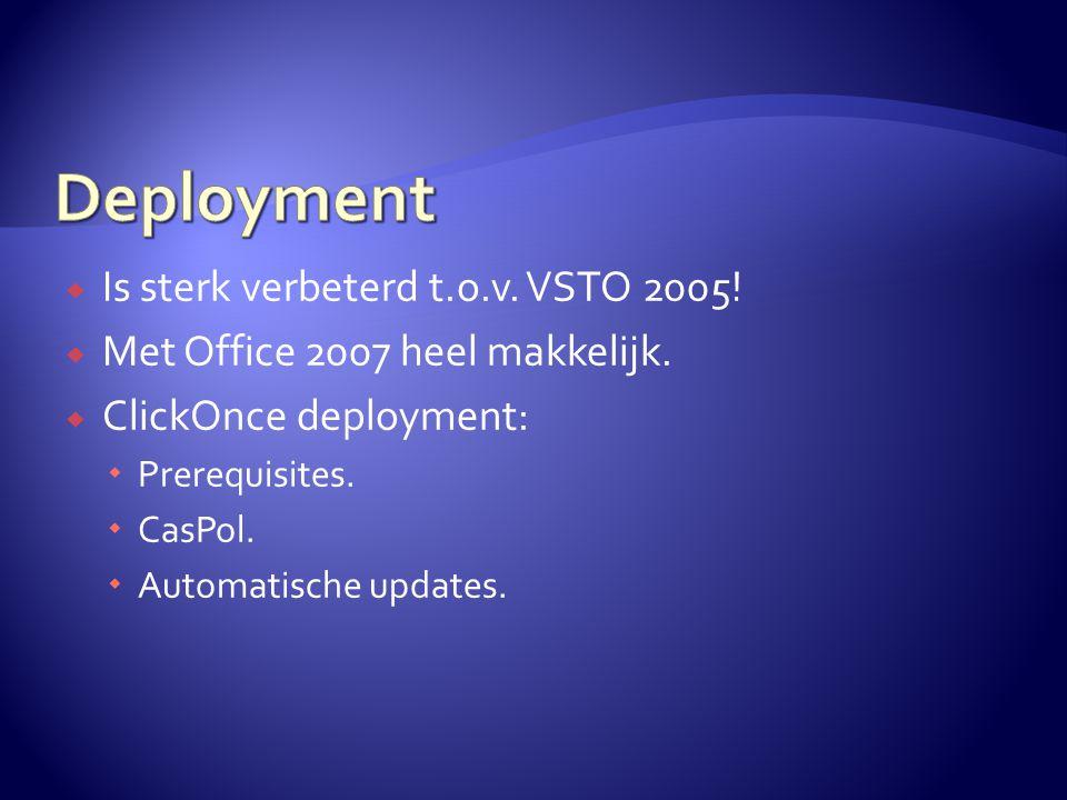  Is sterk verbeterd t.o.v. VSTO 2005!  Met Office 2007 heel makkelijk.  ClickOnce deployment:  Prerequisites.  CasPol.  Automatische updates.