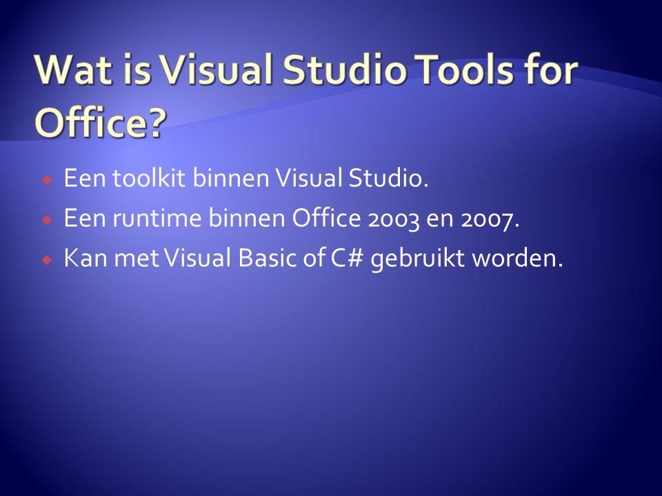  Een toolkit binnen Visual Studio.  Een runtime binnen Office 2003 en 2007.  Kan met Visual Basic of C# gebruikt worden.