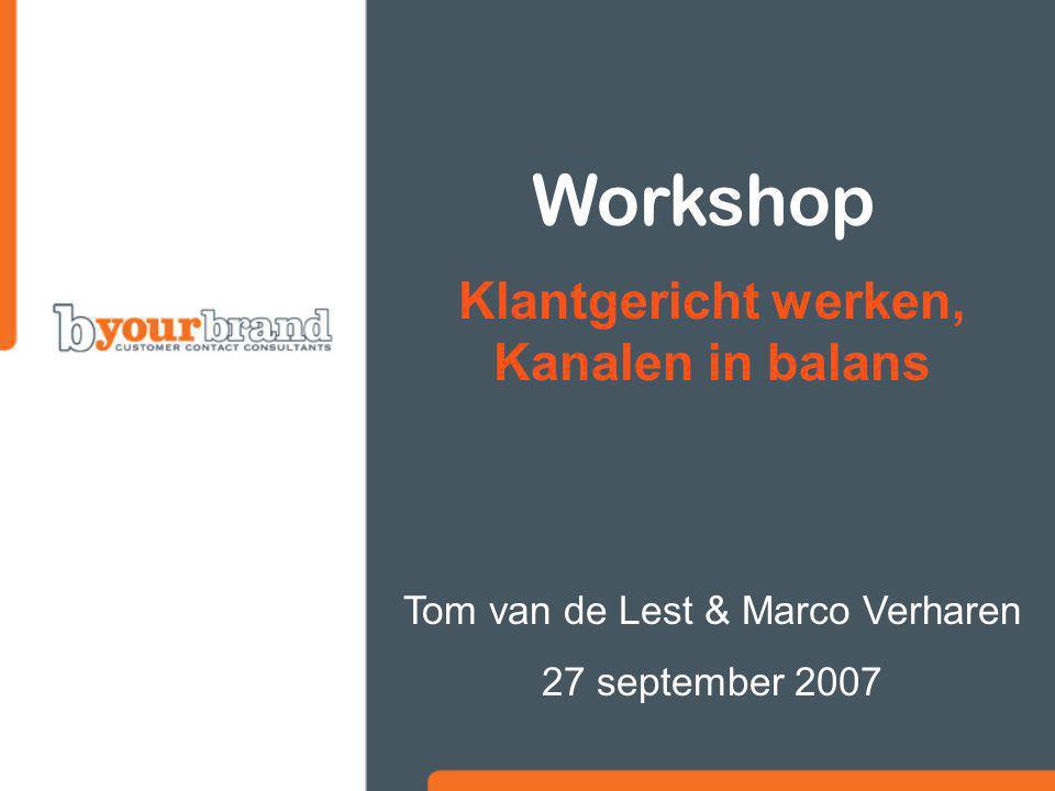 Workshop Klantgericht werken, Kanalen in balans Tom van de Lest & Marco Verharen 27 september 2007