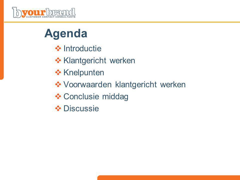 Agenda  Introductie  Klantgericht werken  Knelpunten  Voorwaarden klantgericht werken  Conclusie middag  Discussie