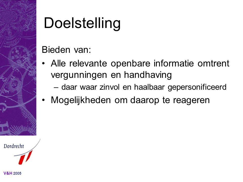 V&H 2005 Begrenzing (1) Doelgroepen: -aanvragers van vergunningen -houders van vergunningen -belanghebbenden bij aangevraagde en verleende vergunningen.