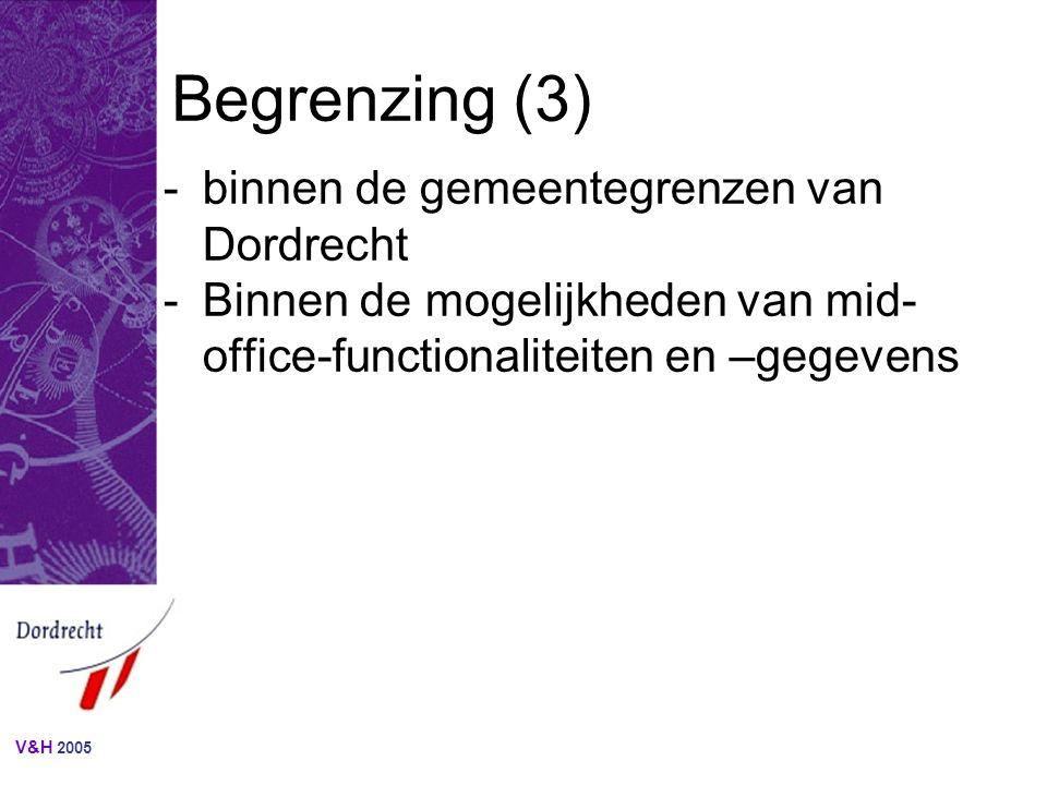 V&H 2005 Benodigde gegevens (vervolg) SchermgegevenMetagegeven AOGFO-Zaken-gegevenMozaiek-gegevenToelichting / voorbeeld Houder(/aanvrager)VergunninghouderNiet-natuurlijk- persoon…..naam Subject.Zaaknaam cq.