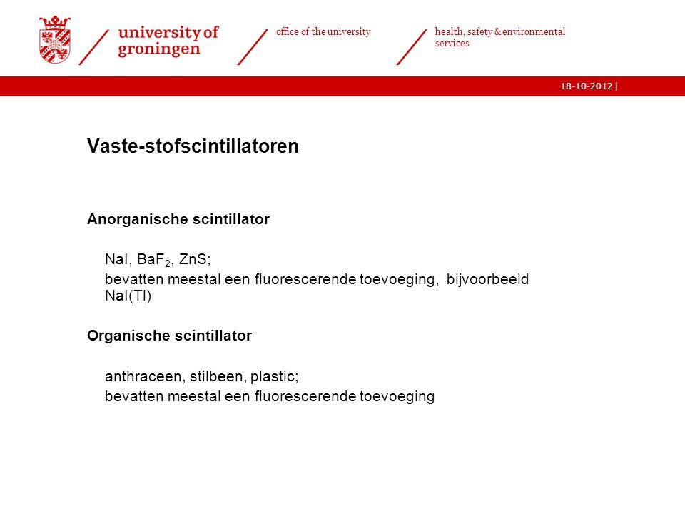 | office of the university health, safety & environmental services 18-10-2012 13  Vaste-stofscintillatoren  Anorganische scintillator o NaI, BaF 2,