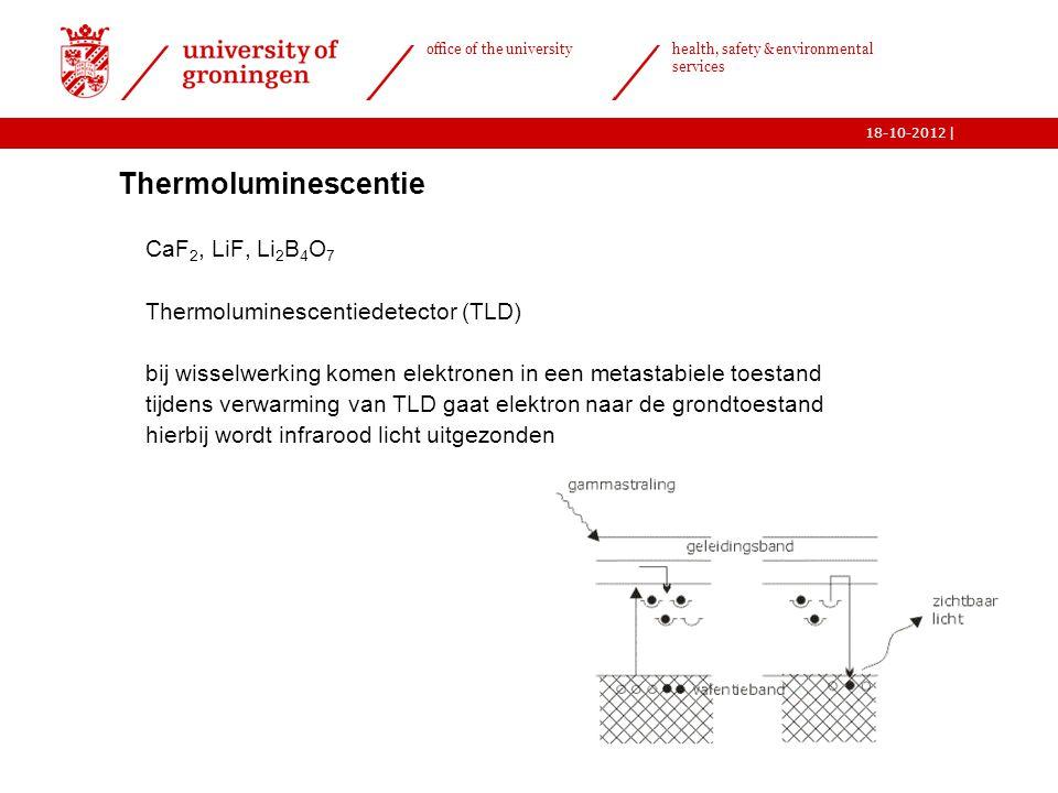 | office of the university health, safety & environmental services 18-10-2012 15  Thermoluminescentie o CaF 2, LiF, Li 2 B 4 O 7 o Thermoluminescenti