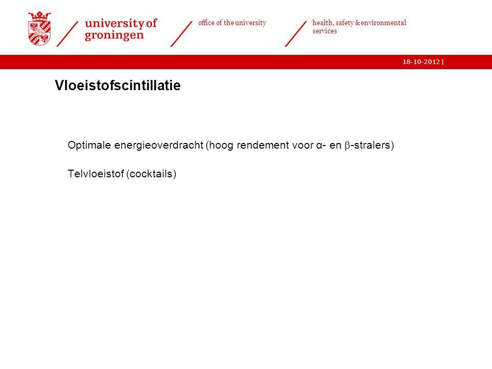 | office of the university health, safety & environmental services 18-10-2012 16  Vloeistofscintillatie o Optimale energieoverdracht (hoog rendement
