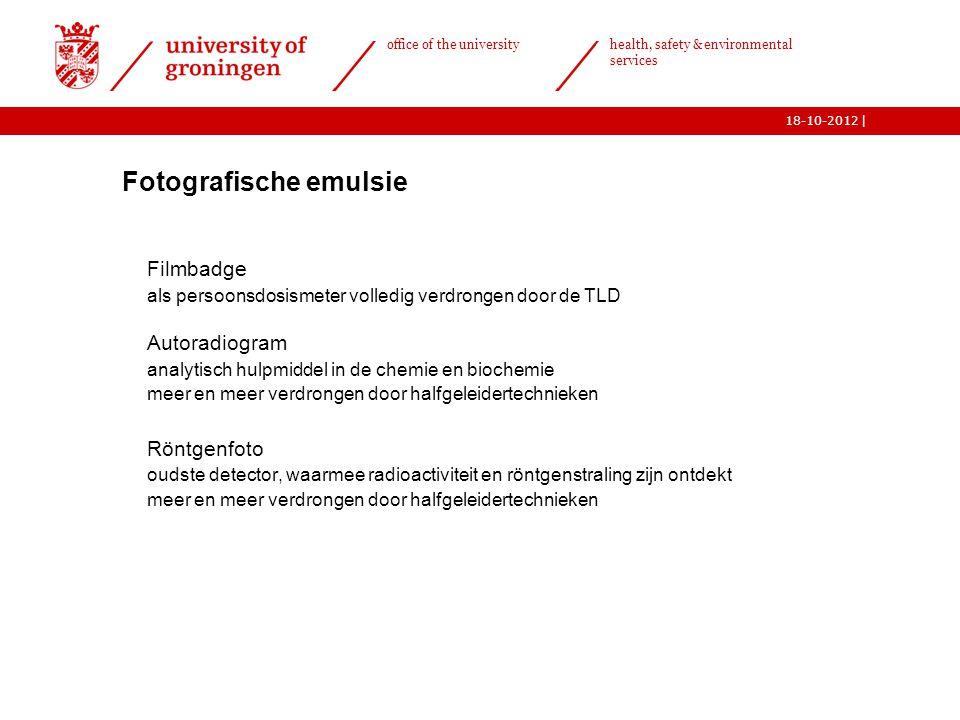 | office of the university health, safety & environmental services 18-10-2012  Fotografische emulsie o Filmbadge o als persoonsdosismeter volledig ve