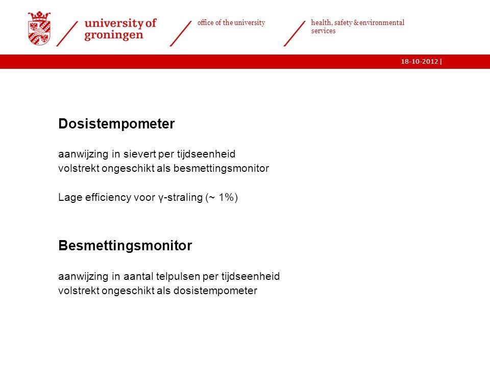 | office of the university health, safety & environmental services 18-10-2012 24  Dosistempometer aanwijzing in sievert per tijdseenheid volstrekt on