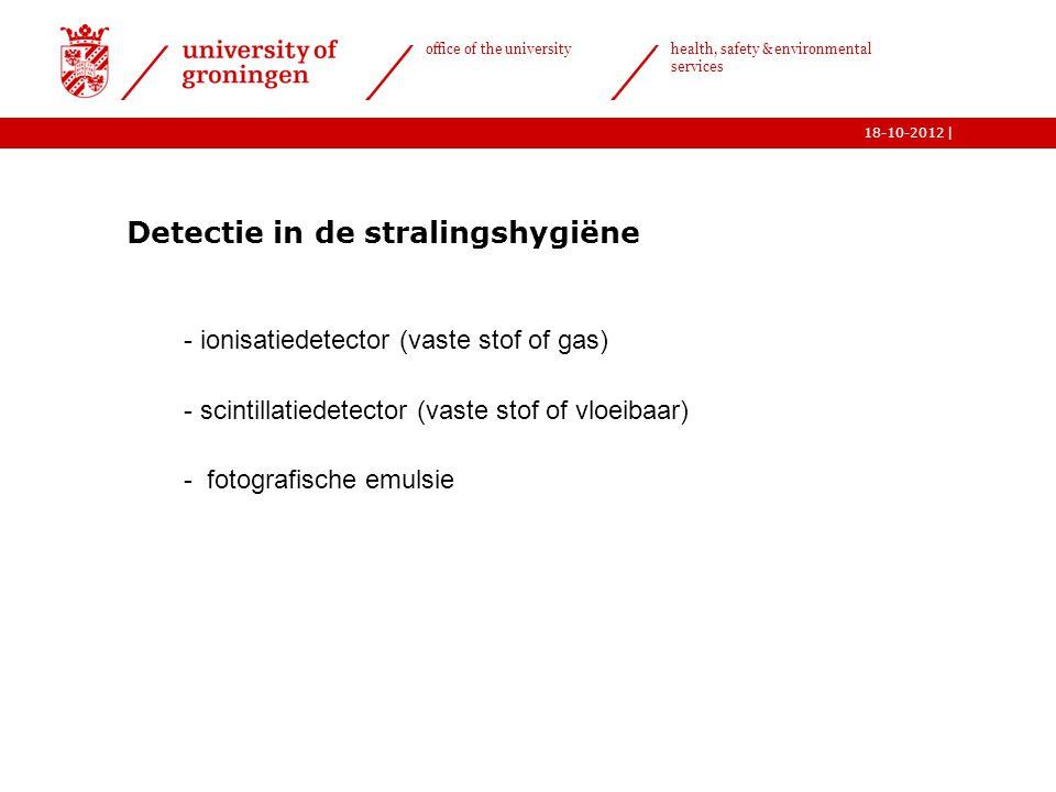 | office of the university health, safety & environmental services 18-10-2012 Detectie in de stralingshygiëne  - ionisatiedetector (vaste stof of gas