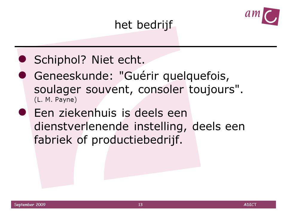 September 2009 13 ADICT het bedrijf ● Schiphol? Niet echt. ● Geneeskunde:
