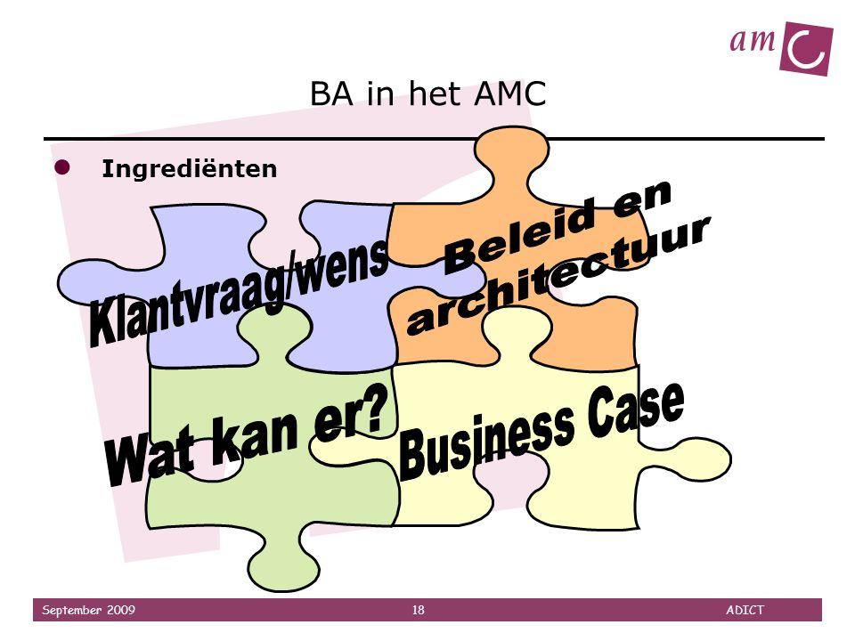 September 2009 18 ADICT BA in het AMC ● Ingrediënten